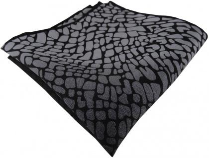 TigerTie Seideneinstecktuch in anthrazit grau schwarz gemustert - 100% Seide