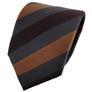 TigerTie Krawatte braun dunkelbraun anthrazit gestreift - Binder Schlips Tie