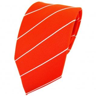 TigerTie Krawatte orange leuchtorange neonorange silber gestreift - Binder Tie