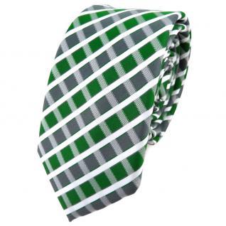 Schmale TigerTie Krawatte grün grau silber weiss gestreift - Schlips Binder - Vorschau 1