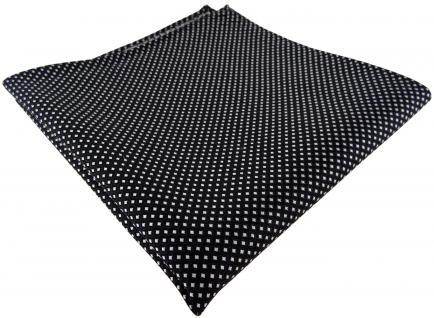 TigerTie Seideneinstecktuch in schwarz silber gepunktet, Einstecktuch 100% Seide