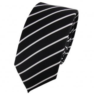 Schmale TigerTie Krawatte schwarz silber weiß gestreift - Schlips Binder Tie