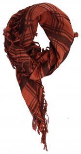 TigerTie Halstuch in blutorange rotbraun kariert mit Fransen - Gr. 75x75 cm