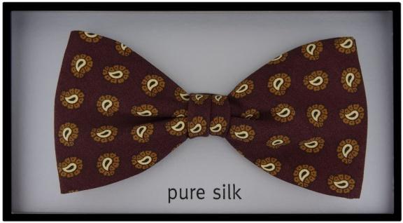 TigerTie Seidenfliege bordeaux braun gold schwarz Paisley gemustert - 100% Seide - Vorschau 2