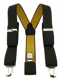 TigerTie Unisex Hosenträger mit 3 extra starken Clips - braun gold gepunktet
