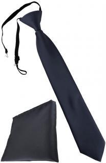 TigerTie Security Sicherheits Krawatte + Einstecktuch anthrazit Uni einfarbig