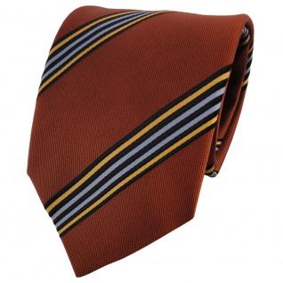 TigerTie Satin Krawatte braun kupfer blau schwarz orangebraun gestreift - Binder
