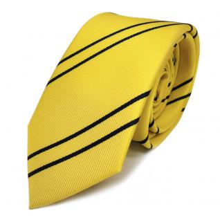 Schmale TigerTie Designer Krawatte gelb goldgelb dunkelblau gestreift - Binder