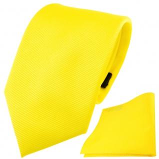 TigerTie Designer Krawatte + Einstecktuch gelb leuchtgelb neongelb Uni Rips
