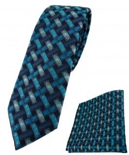 schmale TigerTie Krawatte + Einstecktuch türkisblau schwarz - Motiv Flechtmuster