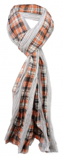 gecrashter Schal orange weiß grau schwarz kariert / gestreift - Gr. 180 x 50 cm