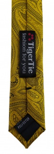 TigerTie - schmale Designer Krawatte in gold schwarz Paisley gemustert - Vorschau 5