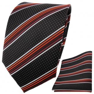 TigerTie Krawatte Einstecktuch orange rotbraun silberweiß grau gestreift