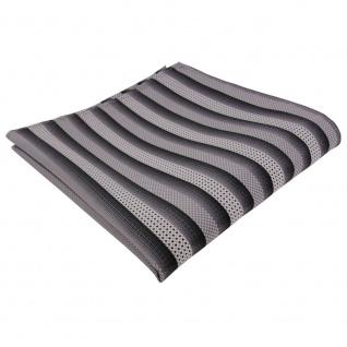 Designer Seideneinstecktuch silber grau anthrazit gestreift - Tuch Seide Silk