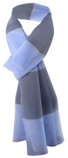 Damen Chiffon Halstuch blau anthrazit gestreift Gr. 165 cm x 40 cm - Tuch Schal