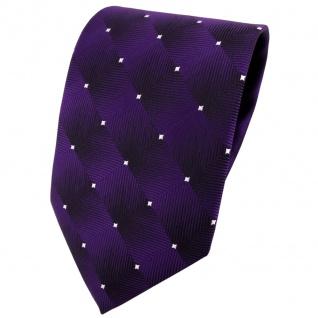 TigerTie Designer Krawatte lila violett silber gepunktet - Schlips Binder Tie