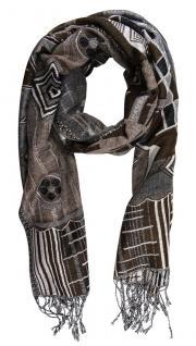 Schal dunkelbraun grau silber Geometrische Muster mit Fransen - Gr. 180 x 60 cm