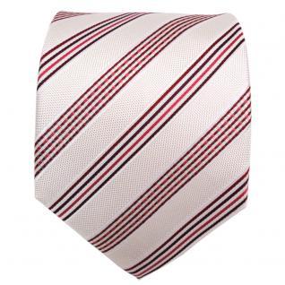TigerTie Designer Seidenkrawatte creme weiß rot bordeaux gestreift - Krawatte - Vorschau 2