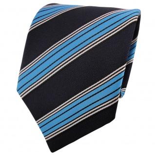 TigerTie Krawatte blau dunkelblau schwarz silber gestreift - Schlips Binder