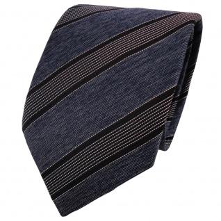 TigerTie Krawatte grau blaugrau silber schwarz gestreift - Binder Schlips Tie