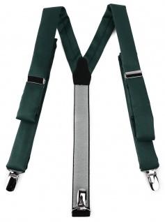 schmaler TigerTie Unisex Hosenträger mit 3 extra starken Clips - in dunkelgrün Uni