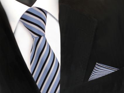 Designer TigerTie Krawatte + Einstecktuch blau graublau schwarz weiß gestreift