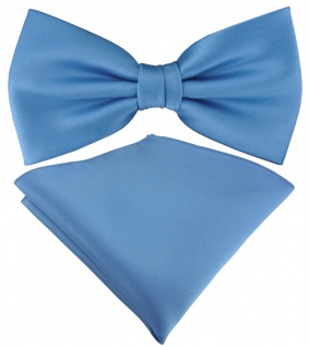 TigerTie Satin Fliege + TigerTie Einstecktuch in azurblau Uni Einfarbig + Box