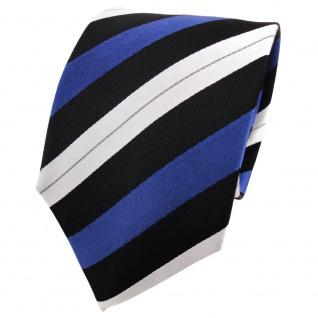 TigerTie Seidenkrawatte blau royal schwarz silber gestreift - Krawatte Seide