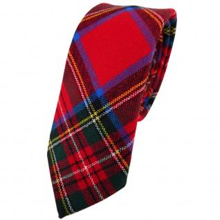 schmale TigerTie Wollkrawatte rot grün blau gelb silber kariert - Krawatte Wolle