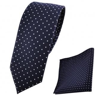 schmale TigerTie Krawatte + Einstecktuch marine dunkelblau silberweiß gepunktet
