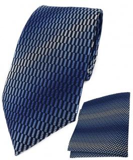 TigerTie Krawatte + Einstecktuch in blau marine royal silber grau gemustert
