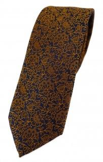 TigerTie - schmale Designer Krawatte in kupfer schwarz florales Muster
