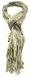 TigerTie - gecrashter Schal in beige gelb braun weissgrau gemustert