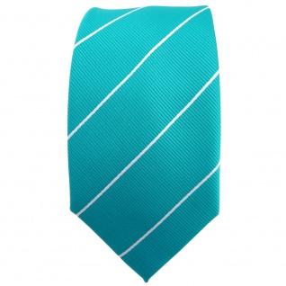 Schmale TigerTie Krawatte türkis türkisblau silber gestreift - Binder Tie - Vorschau 2