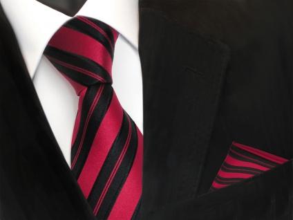 TigerTie Seidenkrawatte + Einstecktuch in rot signalrot schwarz gestreift