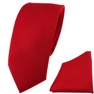 schmale TigerTie Seidenkrawatte + Seideneinstecktuch rot feuerrot einfarbig Rips