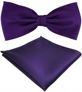 TigerTie Satin Fliege + Einstecktuch dunkles lila violett einfarbig +Geschenkbox