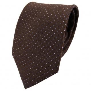 TigerTie Seidenkrawatte braun blau hellblau gepunktet - Krawatte Seide Tie