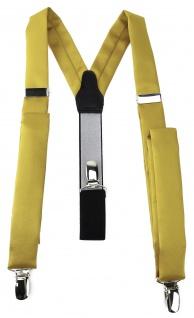schmaler TigerTie Unisex Hosenträger mit 3 extra starken Clips - in gelbgold Uni