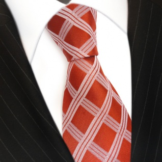 Seidenkrawatte rot orange silber kariert - Krawatte 100 % Seide Silk