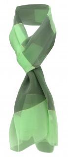 Damen Chiffon Halstuch grün hellgrün gold gestreift - Gr. 165 cm x 40 cm - Schal