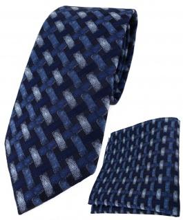 TigerTie Krawatte + Einstecktuch blau marine dunkelblau - Motiv Flechtmuster