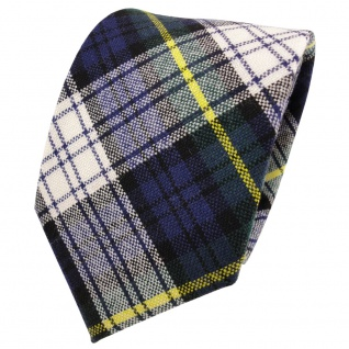 Designer Wollkrawatte blau marine grün gelb creme kariert - Krawatte Wolle wool