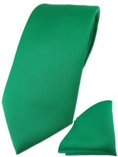 TigerTie Designer Krawatte + TigerTie Einstecktuch in grün einfarbig uni