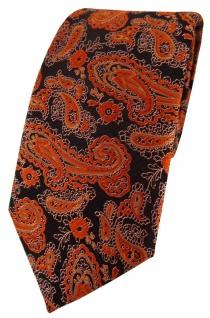 TigerTie Designer Krawatte in orange schwarz silber Paisley gemustert
