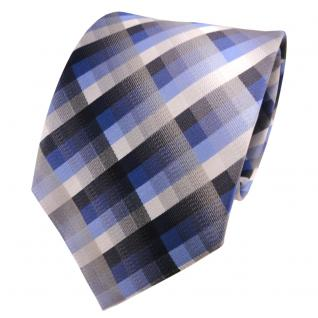 TigerTie Seidenkrawatte blau anthrazit grau silber kariert - Krawatte Seide Silk