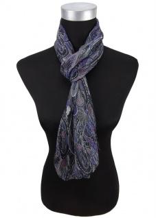 Chiffon Seidenschal blau schwarz lila Paisley - Gr. 160 x 30 cm - Schal Halstuch