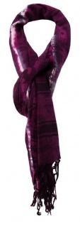 TigerTie Designer Schal in lila grau schwarz gemustert mit Fransen