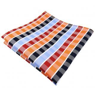Einstecktuch orange rotorange blau hellblau weiß gestreift - Tuch 100% Polyester - Vorschau