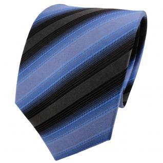 TigerTie Designer Seidenkrawatte fernblau blau anthrazit schwarz gestreift - Vorschau 1